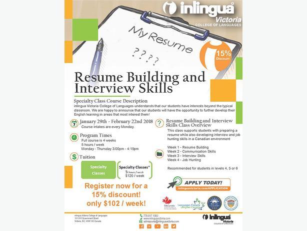 Resume Building and Interview Skills ESL Classes Victoria City, Victoria