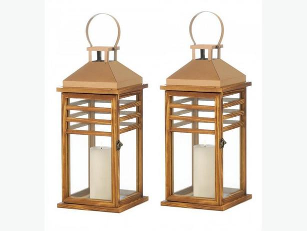 Large Rose Gold Stainless Steel & Wood Candle Lantern Set of 2 Brand New