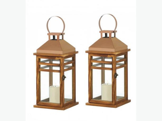 Contemporary Rose Gold Stainless Steel & Wood Candle Lantern 2 Lot New