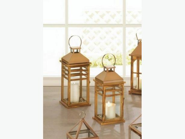 Rose Gold Stainless Steel & Wood Candle Lantern Lg&Sm 2PC Mix New