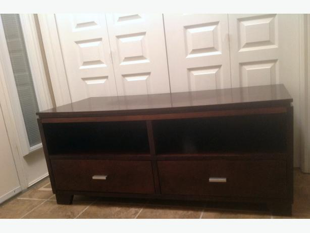 Espresso wood TV stand / media center with deep drawers