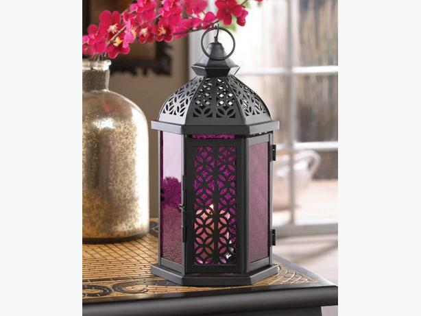 "12"" Black Candle Lantern Amethyst Purple Pressed Glass Panels 6 Lot New"