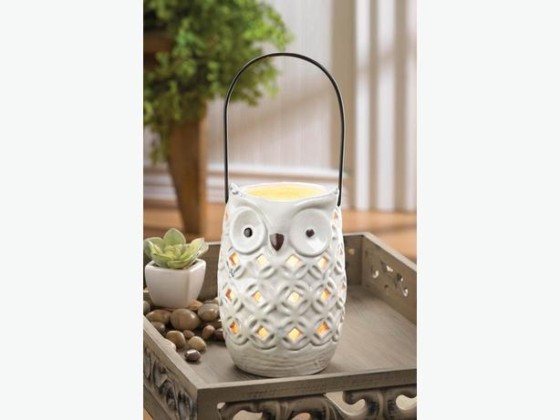 Owl Candle Lantern 5 Lot Brand New Weathered White