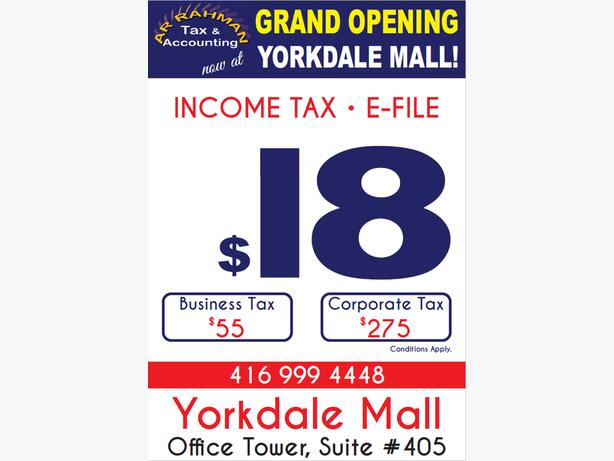 INCOME TAX E-File $ 18 Yorkdale Mall Suite 405 office Tower
