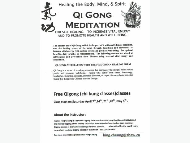 FREE: Qigong (chi kung ) meditation classes for self healing