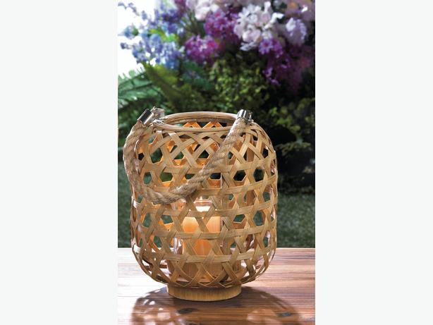 Round Bamboo Woven Basket Style Hurricane Candleholder Lantern Rope Handle 4 Lot