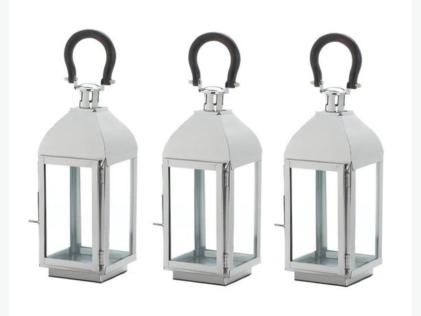"14"" Silver Metal Candle Lantern Clear Glass Panels Black Loop Handle 3 Lot New"