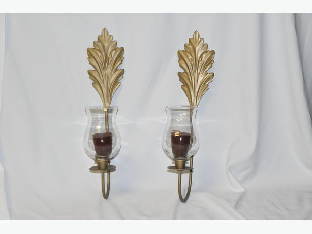 Gold Tone Wall Mount Glass Candle Holder Scones