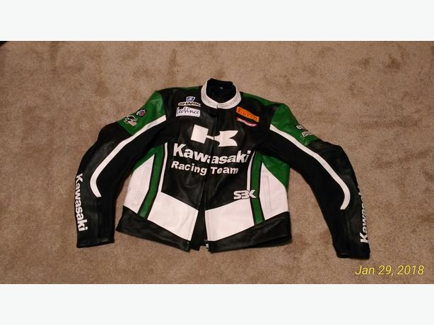 Kawasaki leather armored motorcycle Jacket - Brand NEW!