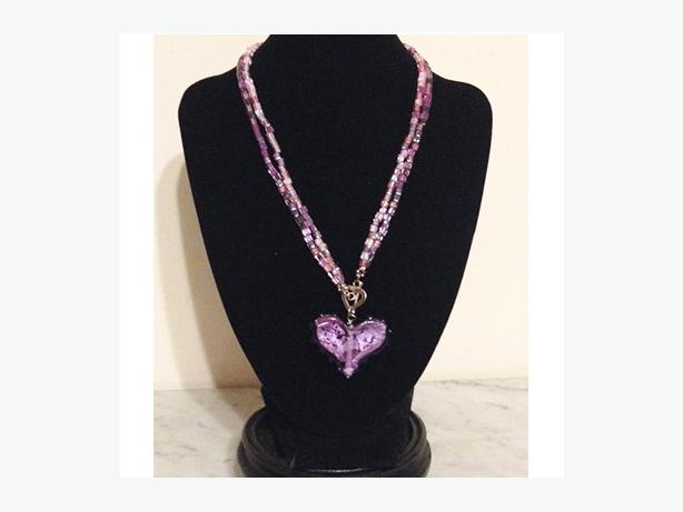 Vintage blown glass necklace and heart pendant