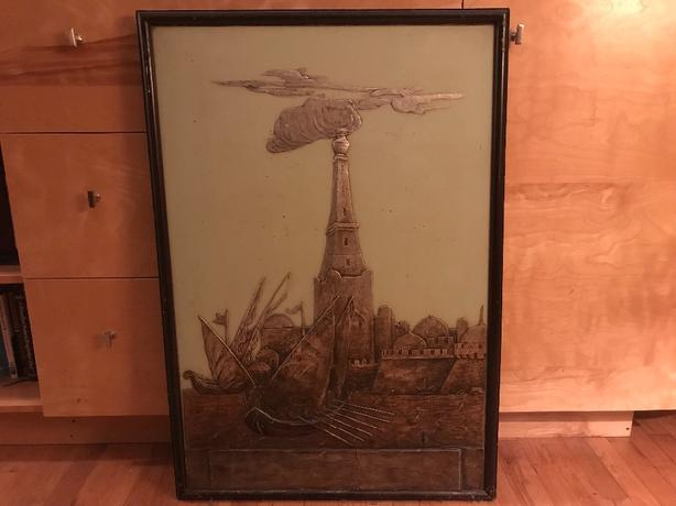 Framed unusual Bas Relief on painted wooded panel .