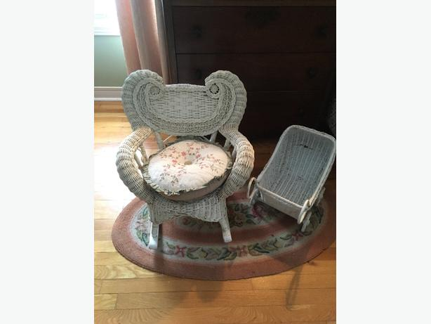 little vintage chair and doll pram