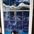 "Mosaic leaded glass window "" Orca enjoying the full moon""."