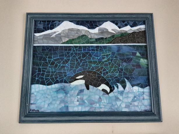 "Mosaic glass picture ""Orca in Paradise"""