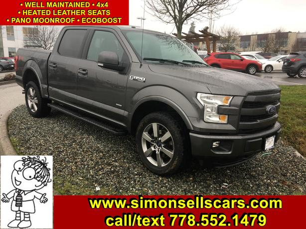 2015 FORD F-150 SUPER CREW LARIAT - PANORAMIC ROOF & MORE!