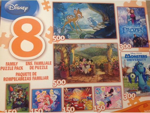 Disney 8 Family Puzzle Pack - NEW