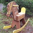 Vintage very large folkart rocking horse ...