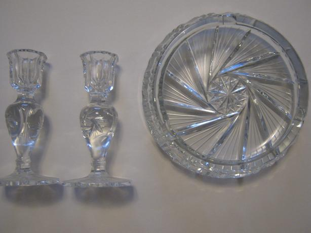 CRYSTAL CANDLE HOLDERS , DISH AND CRYSTAL BALL