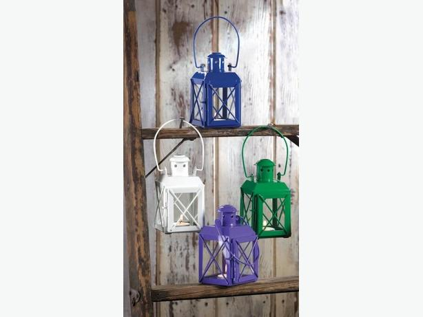 Small Mini Railway Candle Lantern Lamp Blue Green Purple 6 Lot Mix&Match Metal