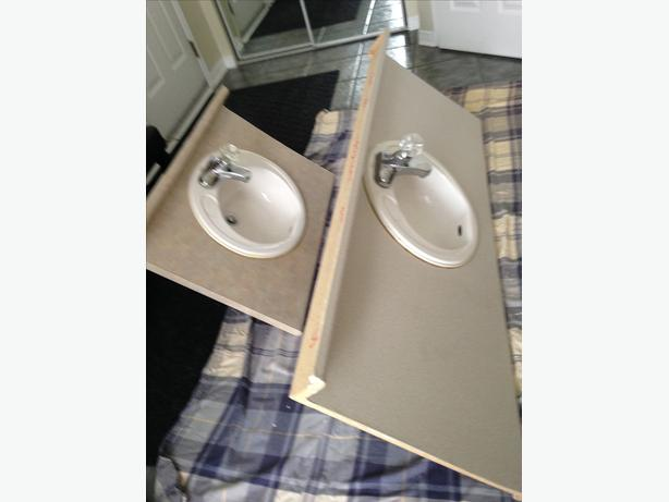 A pair of Vanity/Counter top Large & Small with Sink and Faucette