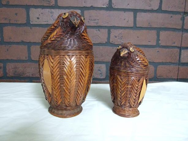 Pair of Wicker Birds