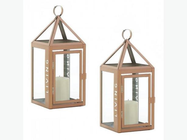 Rose Gold Stainless Steel Candle Lantern with Cutout Word Living 2 Lot