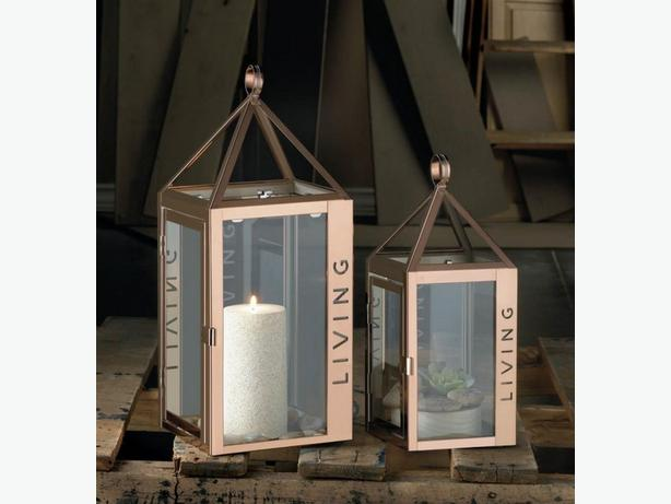 Rose Gold Stainless Steel Candle Lantern with Cutout Word Living 2PC Lg&Sm