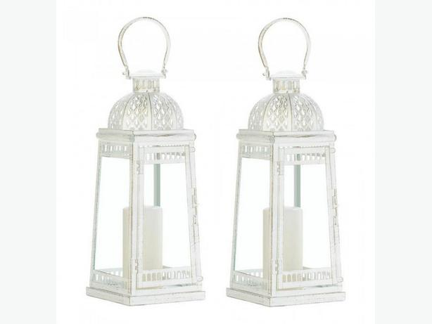Large Weathered White Metal Candle Lantern with Glass Panels 2 Lot