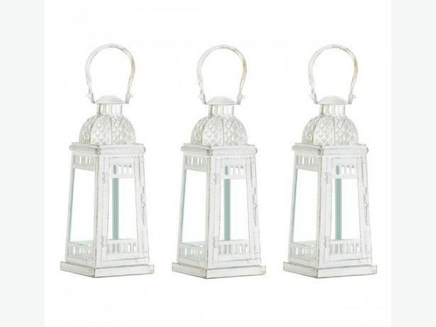 Weathered White Metal Candle Lantern with Glass Panels 3 Lot
