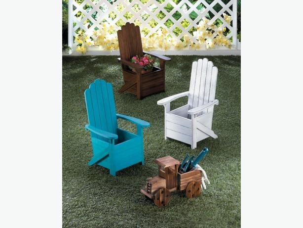 Adirondack Chair Wood Flower Pot Plant Holder Stand 3 Colors 2PC Choice New