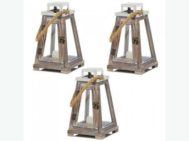 Pyramid Shape Candle Lantern Wood with Rope Handle & Stainless Top 3 Lot