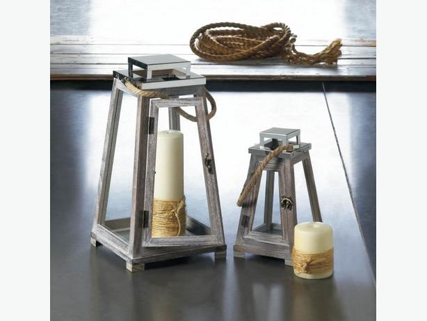 Pyramid Shape Candle Lantern Rope Handle & Stainless Top 2PC Lg&Sm