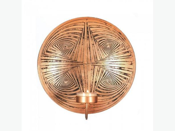 Geometric Round Metal Plate Candleholder Wall Sconce 6 Lot Copper Color