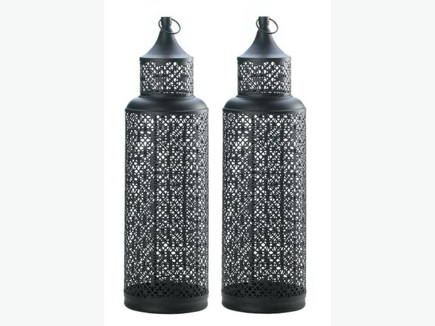 Openwork Black Metal Tower Candle Lantern 2-Feet Tall Set of 2 New