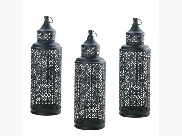 Tall Openwork Round Black Metal Tower Candle Lantern 3 Lot Brand New