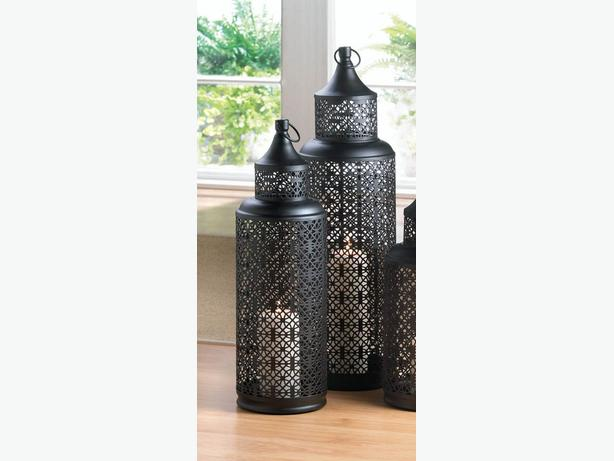 Tall Openwork Black Metal Tower Candle Lantern L&XL 2 Lot Mixed New