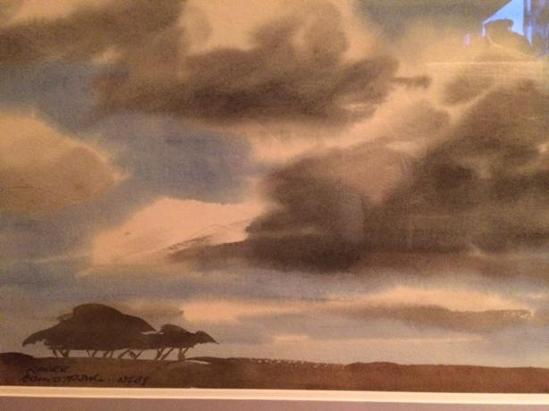 Framed watercolor signed by American artist, Roger Armstrong and titled N.W.T.