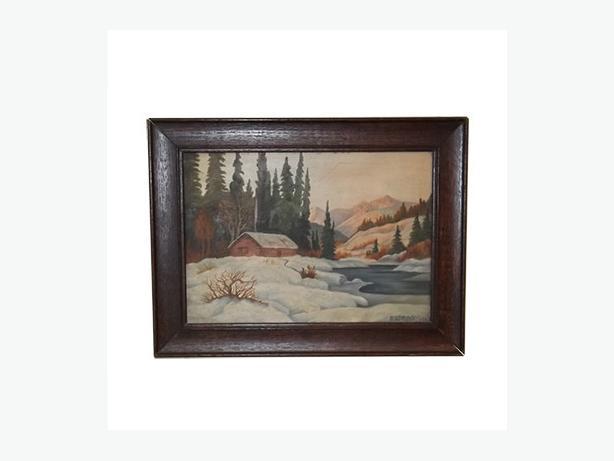 1947 Cabin in Winter Landscape, Oil on Board