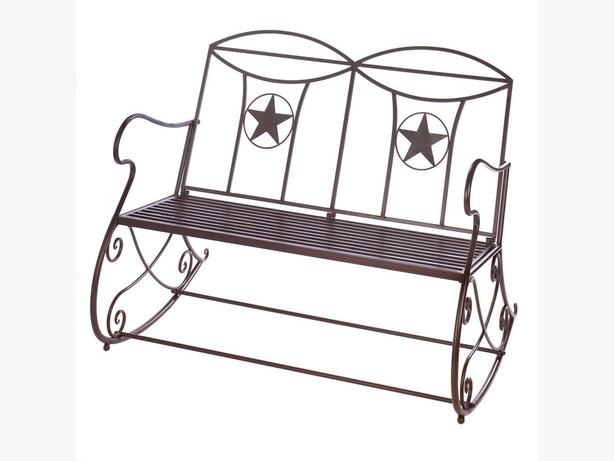 Indoor Outdoor Metal Rocking Bench with Cutout Star Accents Brand New