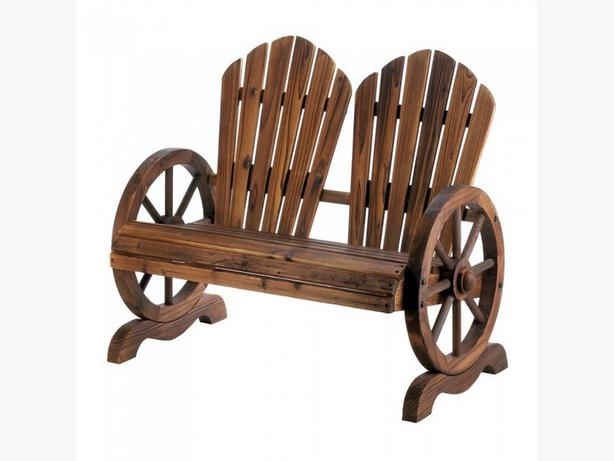 Country Cottage Chic Rustic Wood Wagon Wheel Couples Chair Bench New