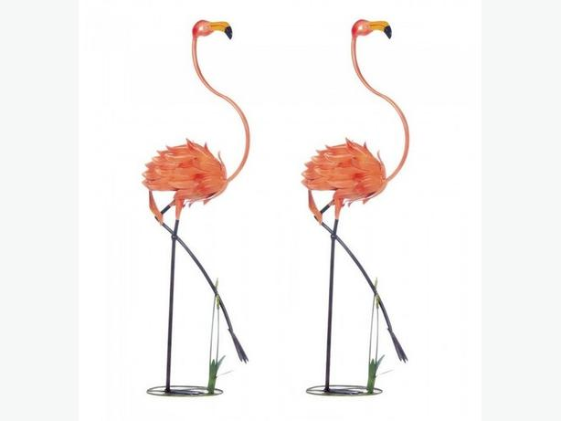 Metal Flamingo Statute Yard Ornaments Almost 4-Feet Tall 2 Lot New