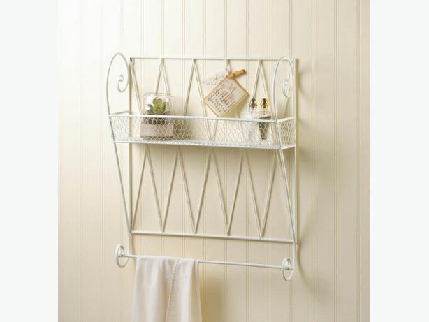 Cottage Chic White Metal Wall Shelf with Towel Bar Brand New