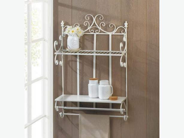 2-Tier Metal Wall Shelf with 2 Towel Bars Brand New Romantic