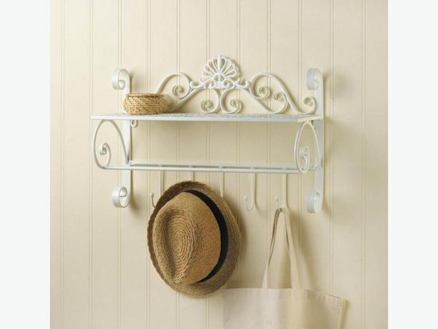 Decorative White Metal Wall Shelf with Hanging Hooks Brand New