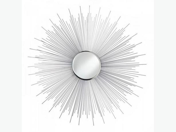 Beveled Wall Mirror with Metal Sun Rays Frame Choose Gold or Silver New Round