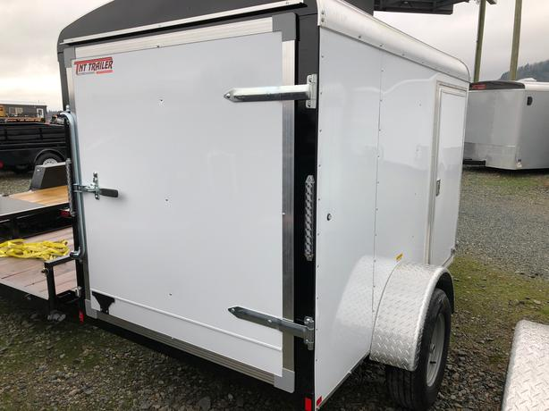 2018 5X8  White Cargo Trailer rear barn door & rv side door