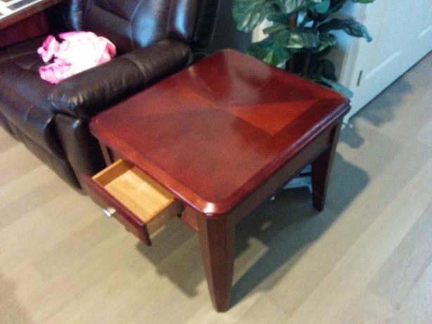 Solid wood living room table and end table