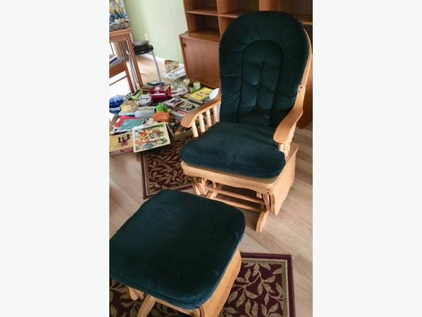 Glider Rocking Chair with Foot Stool