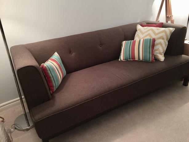 Like New Sofa Brown Fabric