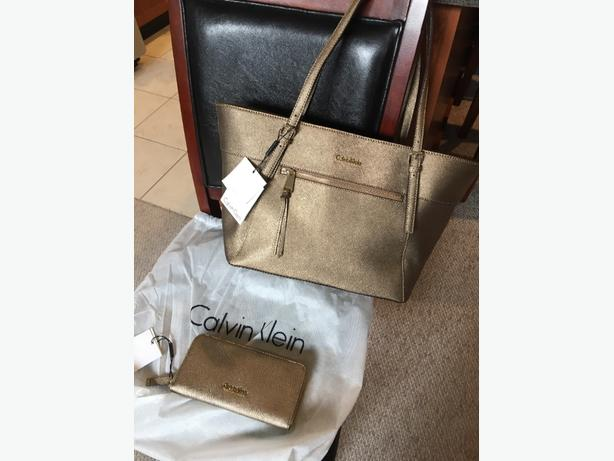 Calvin Klein Saffiano Leather Tote & Wallet in Burnished Gold - New with Tags
